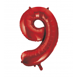 Red Foil Balloon Number 9 - 34