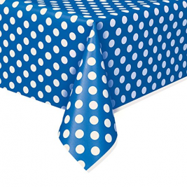 Royal Blue Dots Dots Plastic Tablecover