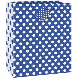 Royal Blue Dots Medium Glossy Gift Bag