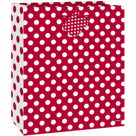 Ruby Red Dots Medium Glossy Gift Bag
