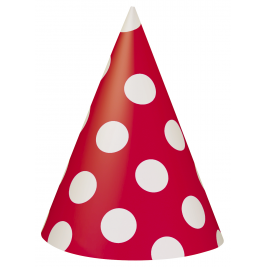 Ruby Red Dots Party Hats (8pk)