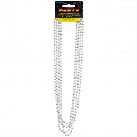 Silver Metallic Bead Necklace (4pk)