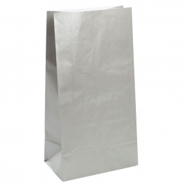 Silver Metallic Paper Party Bags (12pk)