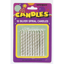 Silver Spiral Birthday Candles (10pk)