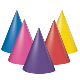 Solid Party Hats Assorted Colours (8pk)