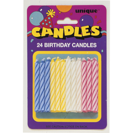 Spiral Birthday Candles Assorted Colours (24pk)