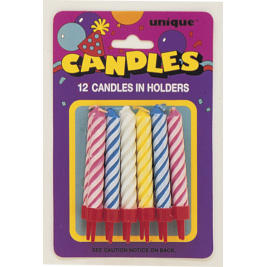 Spiral Birthday Candles In Holders Assorted Colours (12pk)
