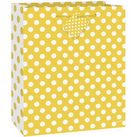 Sunflower Yellow Dots Medium Glossy Gift Bag
