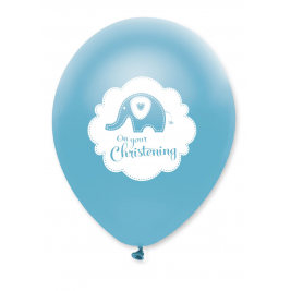 Sweet Baby Elephant Christening Blue Latex Balloon Pack of 6