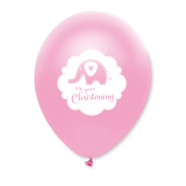Sweet Baby Elephant Christening Pink Latex Balloon Pack of 6