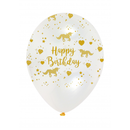 Unicorn Sparkle Gold and Clear Latex Balloons Pack of 6
