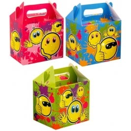 24 x Kids Party Lunch-Box SMILEY FACE DESIGN 14 X 9.5 X 12cm